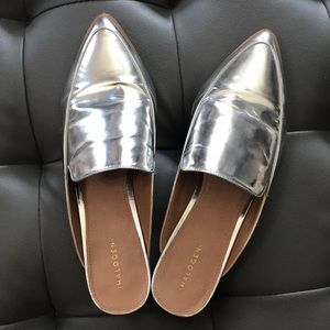 Halogen silver leather mules